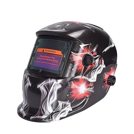 Hanbaili Casco de soldadura, diamante rojo 1639A Soldadura de oscurecimiento automático Casco Soldador Máscaras Protección