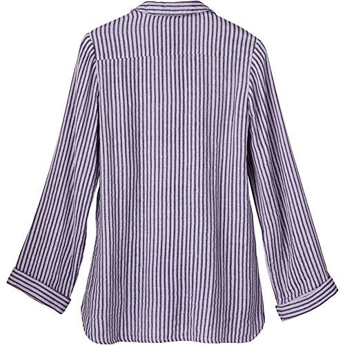 APRIL CORNELL Women's Button Front Shirt - Yarn Dyed Striped Floral Embroidered Blouse- 3X