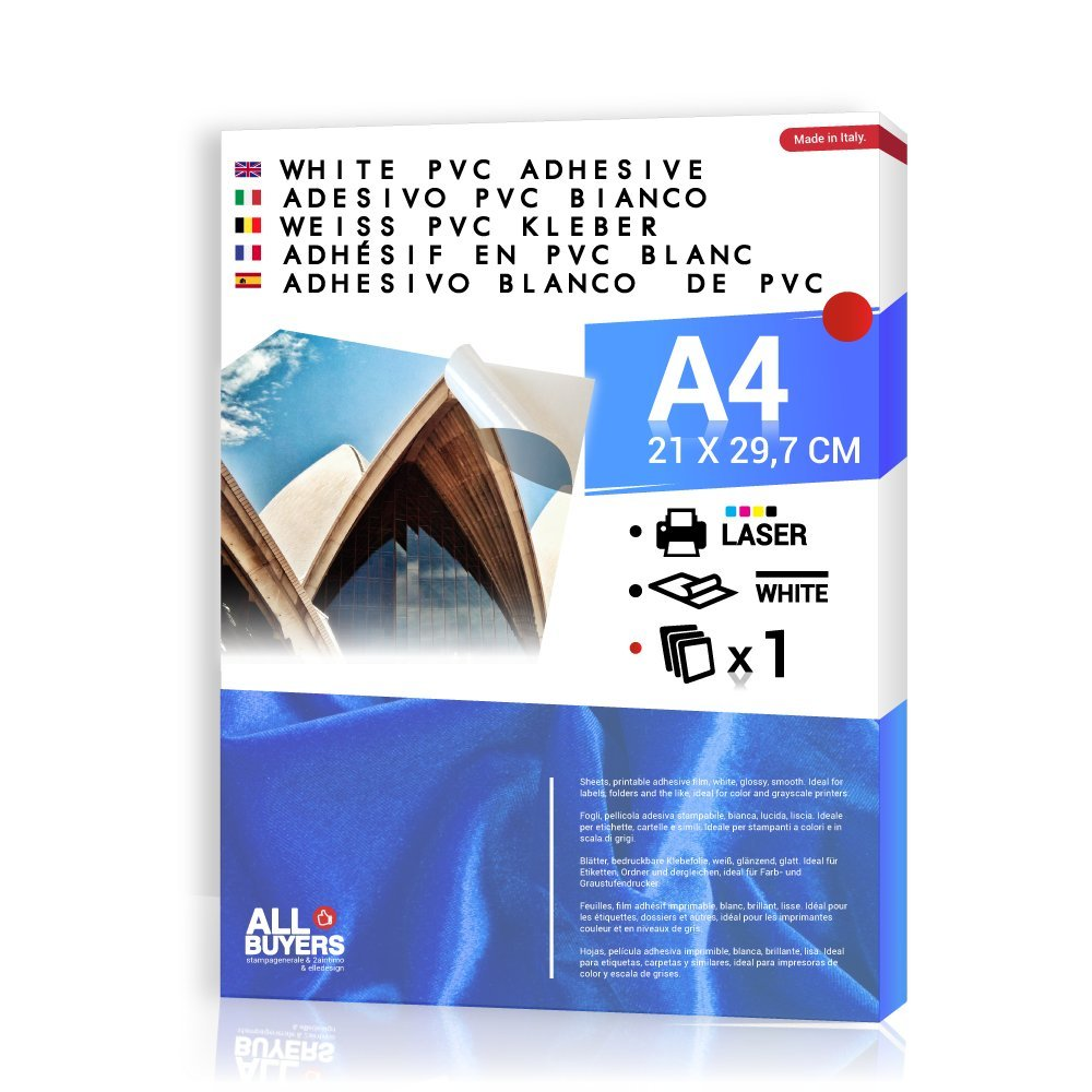 Carta Adesiva Bianca PVC polipropilene A4 Fogli in vinile 1-5-10-15-20-25 per stampanti laser (1) 2AINTIMO