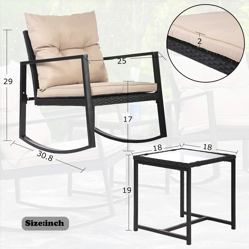 3 Pieces Outdoor Rocking Chair Bistro Set Conversation Wicker Rattan Set Lawn Garden Backyard Balcony Furniture