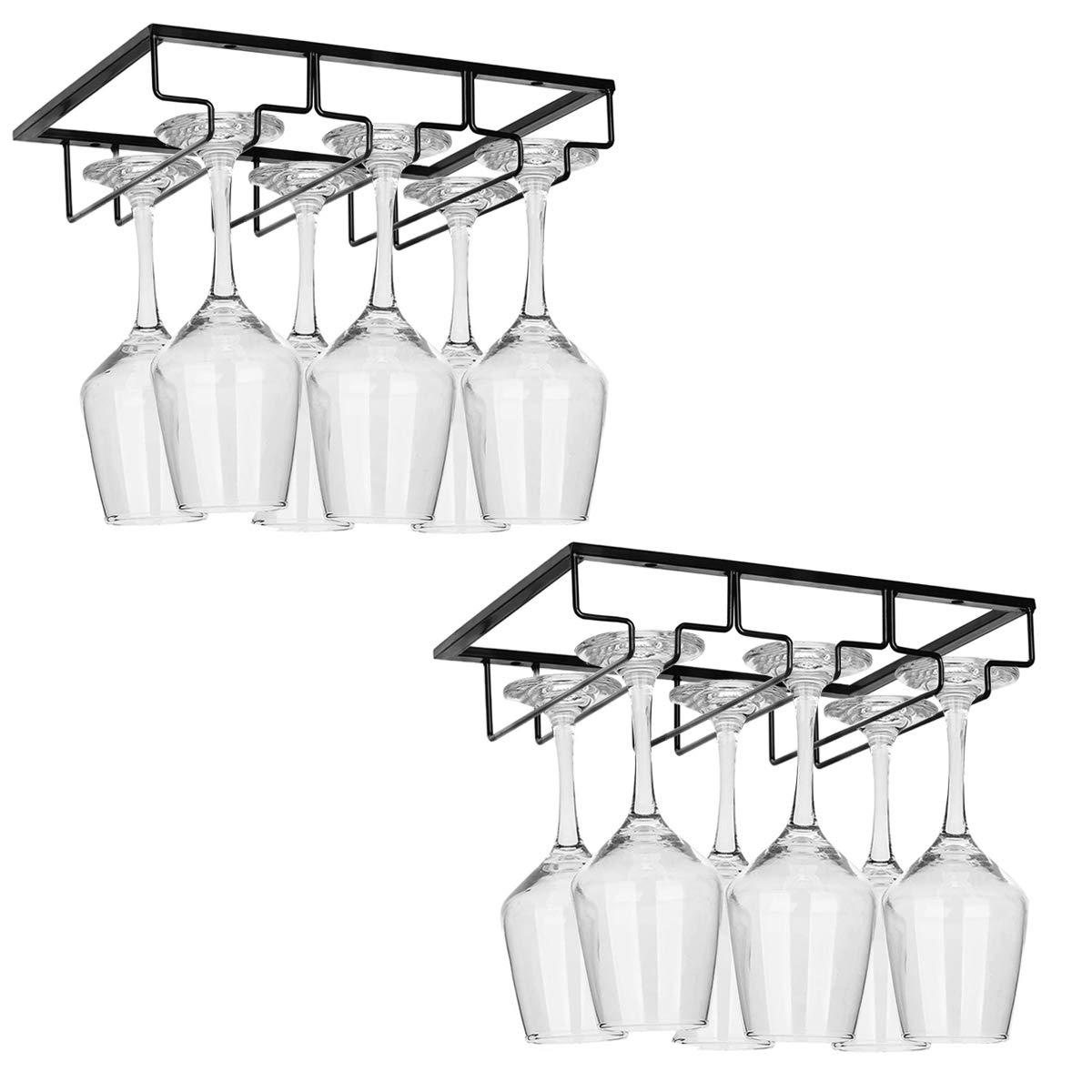 2 Pack Wine Glass Rack - 3 Rows Under Cabinet Stemware Wine Glass Holder Glasses Storage Hanger Metal Organizer for Bar,Kitchen,Black by Qmiracle