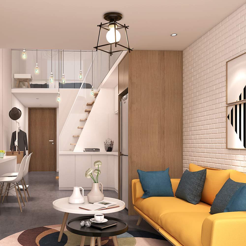 chambre Carr/é Fer Lustre suspension luminaire pour couloir,entr/ée,all/ée Wankd Retro Industrielle Plafonnier en M/étal Blanc Cage porche sous sol etc.