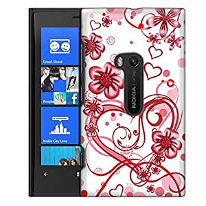 Nokia Lumia 920 Case, Slim Fit Snap On Cover by Trek Sketch Hearts Red on White Case