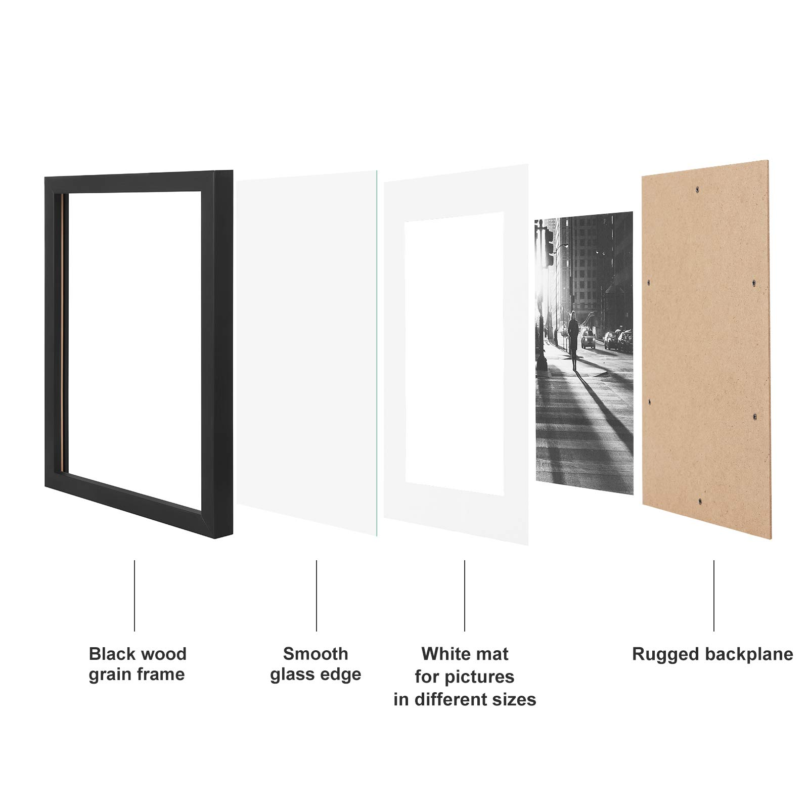 SONGMICS Picture Frames Set of 7 Pieces, One 11 x 14 Inches, Two 8 x 10 Inches, Four 6 x 8 Inches, with White Mat Real Glass, for Multiple Photos, Black Wood Grain URPF37BK by SONGMICS (Image #4)