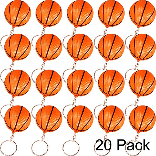 Blulu 20 Pack Orange Basketball Keychains for Party Favors, School Carnival Reward, Party Bag Gift Fillers (Basketball Keychains, 20 Pack)]()