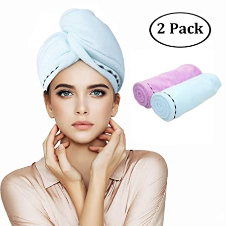 Orthland Microfiber Hair Towel Wraps for Women [2 Pack] Anti-frizz Quick Dry Magic Head Turban Hat Shower Caps for Long Thick & Curly Hair, Super Absorbent, Fast Drying & Never Falls of