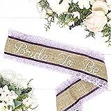Burlap Bachelorette Sash - Burlap & Lavender Lace