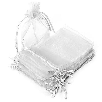 RUBY - 50 Piezas Bolsas de Organza para Fiesta de Boda / 10cm x 15cm / Saquitos/Bolsitas Regalo Joyeria Envio Desde ESPAÑA (Blanco)