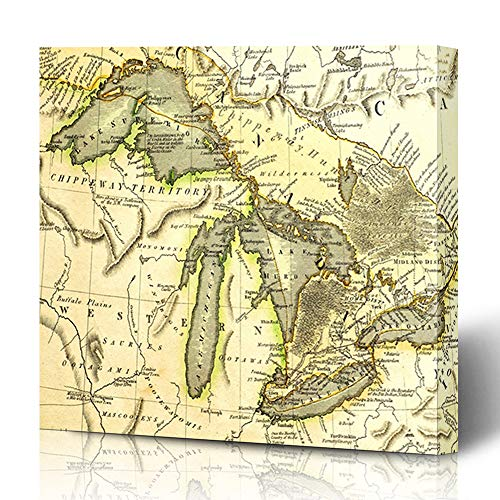 Ahawoso Canvas Prints Wall Art 12x16 Inches Canada Michigan Early Map Great Lakes Printed Bordeaux Historical Vintage Ontario Old Erie Antique Decor for Living Room Office Bedroom