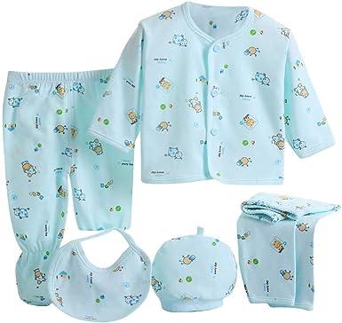 5Pcs Fashion Newborn Baby Cotton Tops Hat Pants Bib Set Outfit Clothes 0-3 Month