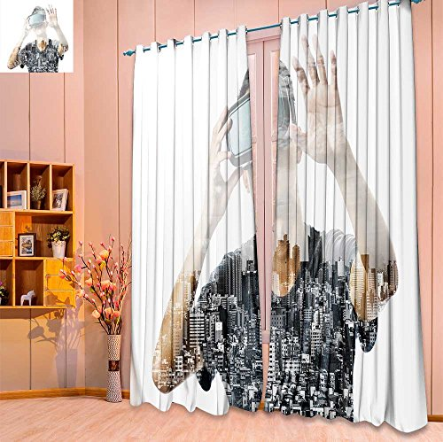 SeptSonne 2 Panel Set Digital Printed Window Curtains double exposure of man using the virtual reality headset for Bedroom Living Room Dining Room(W52 x L63 Pair)