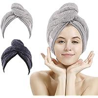 Paquete de 2 toallas de secado de pelo, toalla de pelo de microfibra súper absorbente turbante con diseño de botón para…