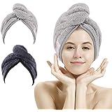 Paquete de 2 toallas de secado de pelo, toalla de pelo de microfibra súper absorbente turbante con diseño de botón para secar
