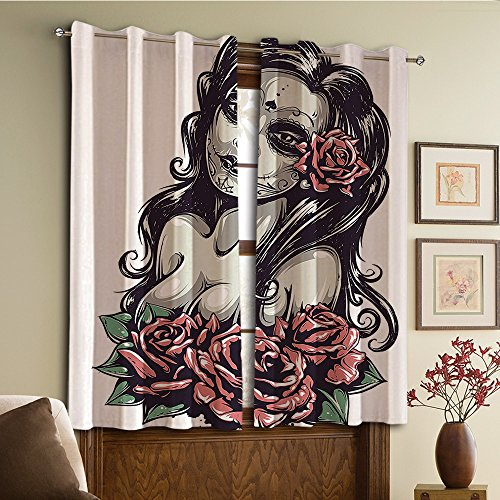 Custom design curtains/Vintage Lace Window Curtain/Grommet Top Blackout Curtains/Thermal Insulated Curtain For Bedroom And Kitchen-Set of 2 Panels(Roses Mexican Sugar Skull Makeup Aztec Culture God) -