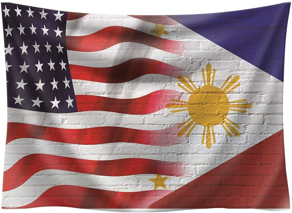 ASENART Splicing National Flag Tapestry American and Philippines Flag Wall Tapestry Wall Hanging for Living Room Home Decor(51 x 59 inches)