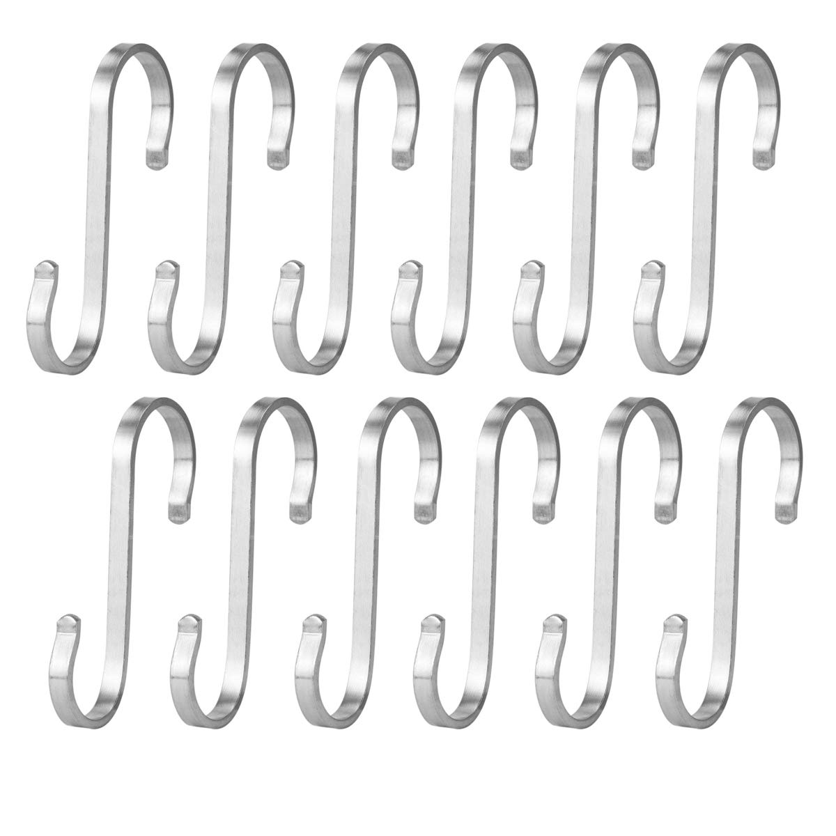 Rannb Stainless Steel Flat S Hanging Hooks Rack Hooks Metal Utility Hooks for Kitchen Bathroom Workshop and Office -Pack of 12 (22x32mm)