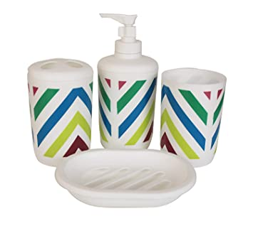 TIEDRIBBONS Plastic Bathroom Accessories (Multicolour) - Set of 4 Pieces Bathroom Soap Dispensers at amazon