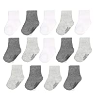 Baby 14-Pack Grow & Fit Flex Zones Cotton Stretch Socks - Unisex, Girls, Boys