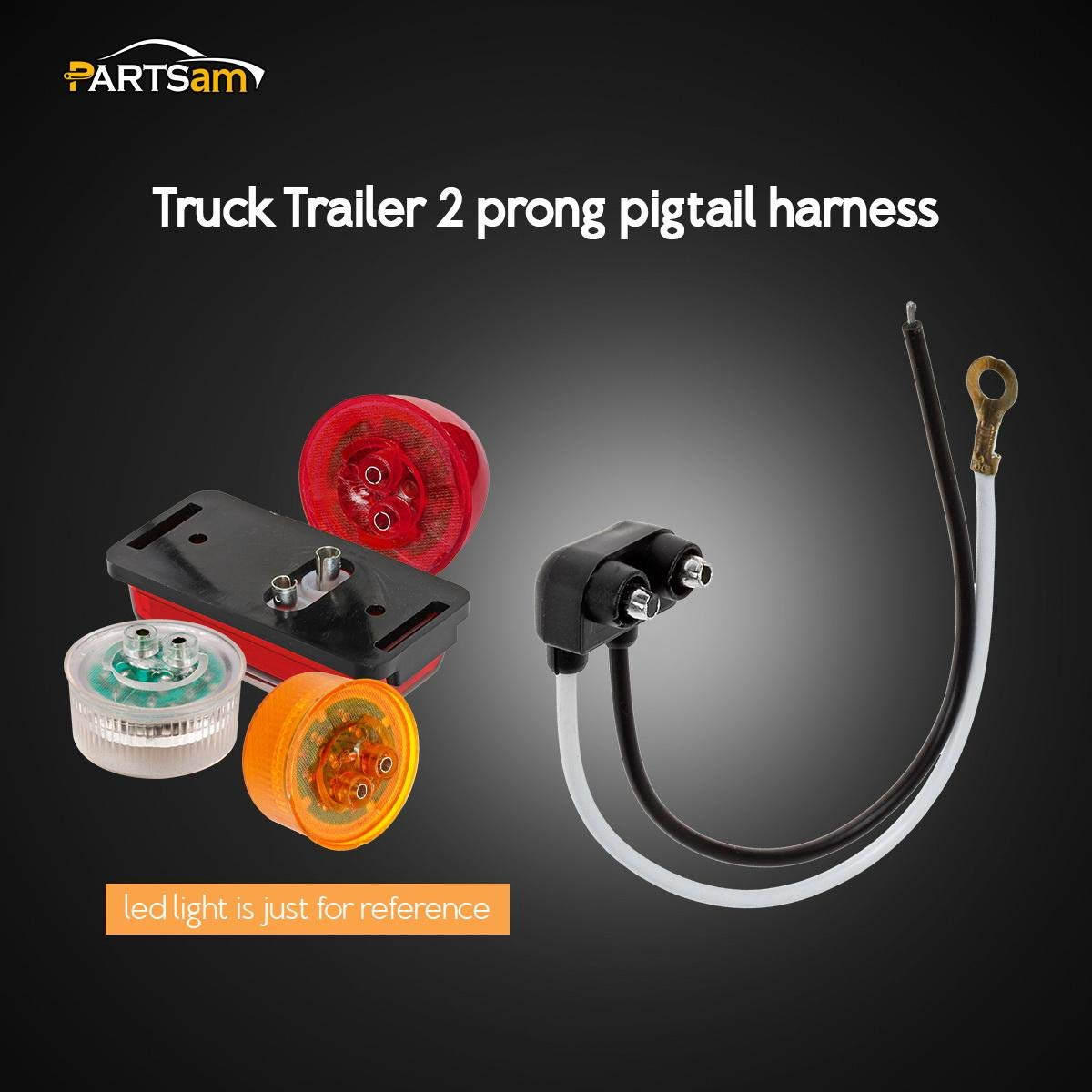 Partsam 2 Prong Pigtail Wire Plug for Truck Trailer Side Marker Clearance Lights Qty 5