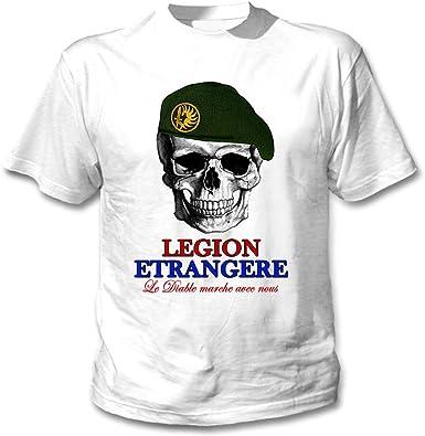 teesquare1st Legion ETRANGER French Skull Camiseta Blanca para ...