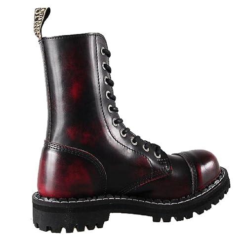 Steel Unisex Botas de acero unisex al frotar, con punta de 10 hoyos, color:  rojo: Amazon.es: Zapatos y complementos