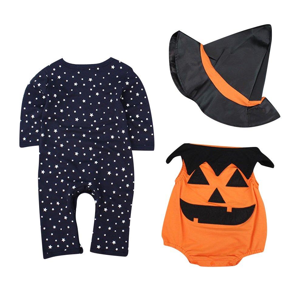 Le SSara B/éb/é Hiver Citrouille Halloween Barboteuse Nouveau n/é Body Costume Costumes 3 pcs
