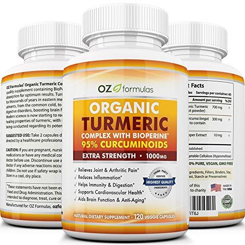 OZ formules Premium curcuma biologique complexe avec BioPerine (poivre noir): Extra Strength portion de 1 000 mg, 120 gélules, 100 % naturelles, PLUS de 95 % curcuminoïdes, douleur, soulagement arthritique & soutien interarmées.