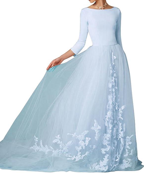 e2f87341d1e Ethel Women s Scoop Neck Sweep Train Tulle Wedding Dress With Appliques Lace