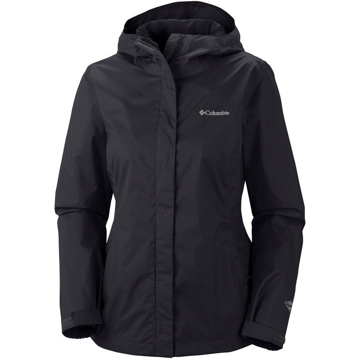 Columbia Women's Arcadia II Waterproof Breathable Jacket with Packable Hood, Black, Medium by Columbia