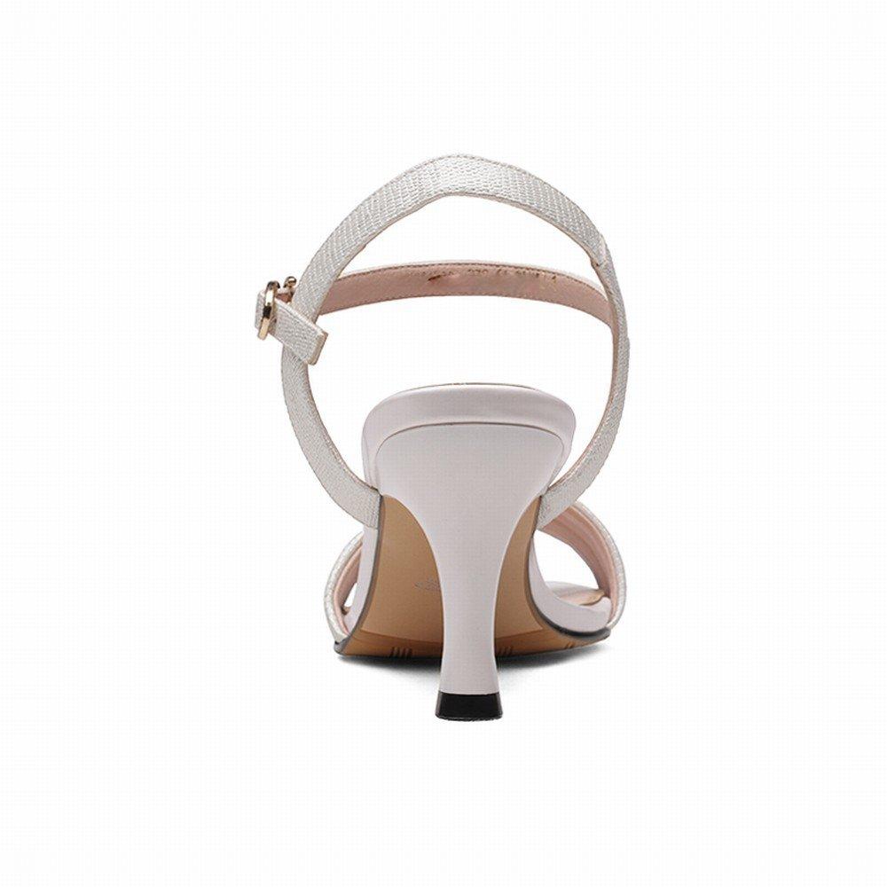 DIDIDD Damens's High Heels mit Schnalle Zehe Stilett Mode Frauen Sandalen,Weiß,39 -
