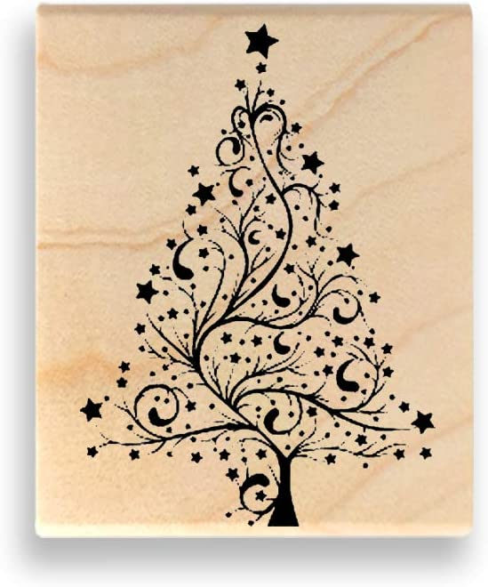 Holiday Art Mount Wooden Rubber Stamp Christmas Tree