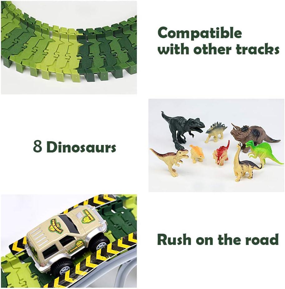 Pistas de Coches para Ni/ños Jurassic World Juguetes Coches de Juguetes Ni/ños 3 4 5 6 A/ños Regalos para Ni/ños Dinosaurios Juguetes Circuito Coches Ni/ños V/ías Flexibles Conjunto 213 Pcs