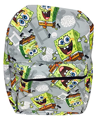 New Arrival Combo Deal - SpongeBob Colorful Print High School Buddy Large Backpack and Be Cool Top Gun Ray Ban Style Sunglasses - Cartoon Bans Ray
