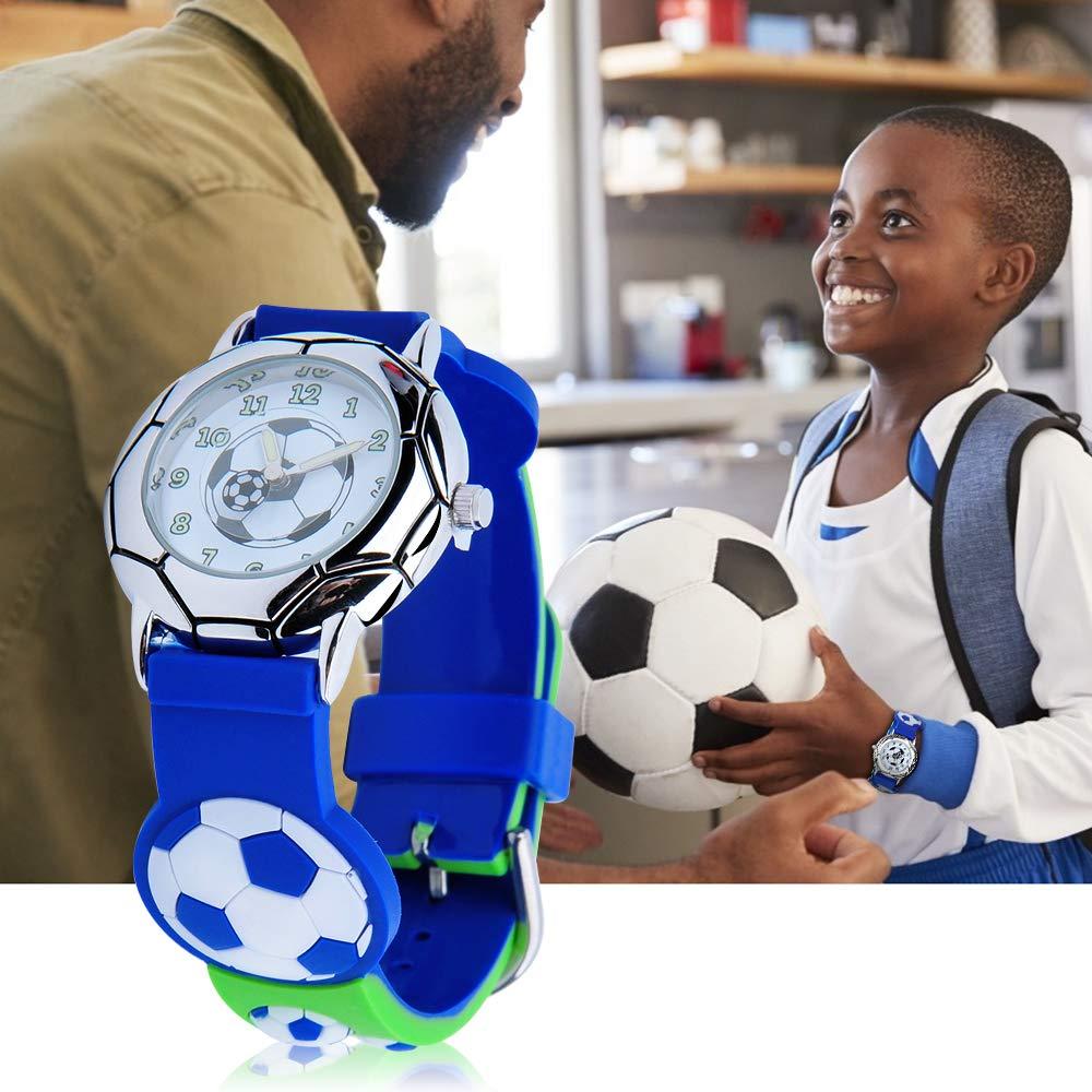 kinderuhr Junge Armbanduhr Leuchtend Analog 3D Fußball Muster mit Aufkleber Geschenke Spielzeug Kinder von 3-12 Jahren mit Geschenkbox
