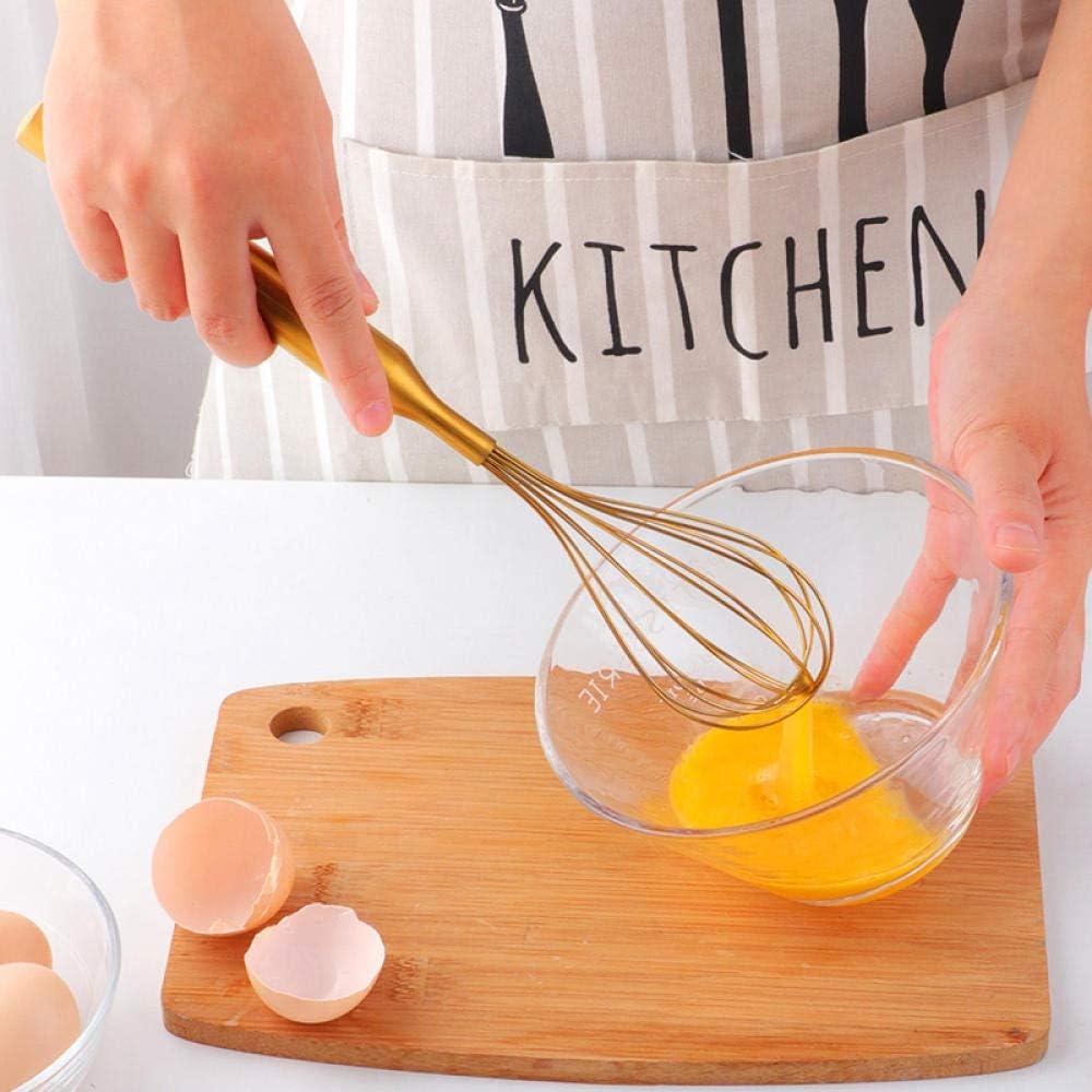 YiYuDe Stainless Steel Whisk Set Egg Milk Frother Milk and Egg Beater Mixer Kitchen Utensils for Blending Stirring-Golden