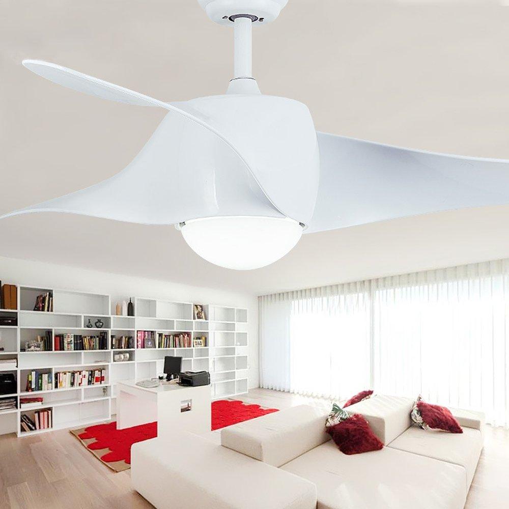 RainierLight Modern White Ceiling Fan Variable Light 52-Inch for Indoor/Bedroom/Living Room Remote Control Chandelier Led Lights Fixture