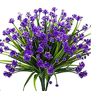 Louiesya Daffodils Artificial Flowers Fake Plants Outdoor UV Resistant Greenery Shrubs Bush Indoor Outside Home Garden Décor Plastic Flower Hanging Planter 4 Pcs (Purple) 1
