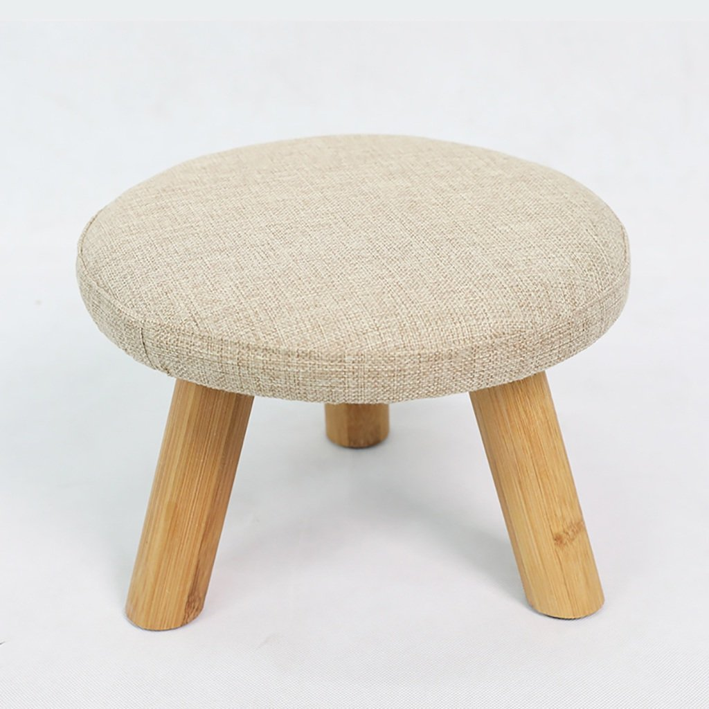 Beige Yxsd Fabric Sofa Stool shoes Bench Fashion Round Stool Creative Small Wooden Bench Bamboo Stool,Removable Cover (color   bluee)