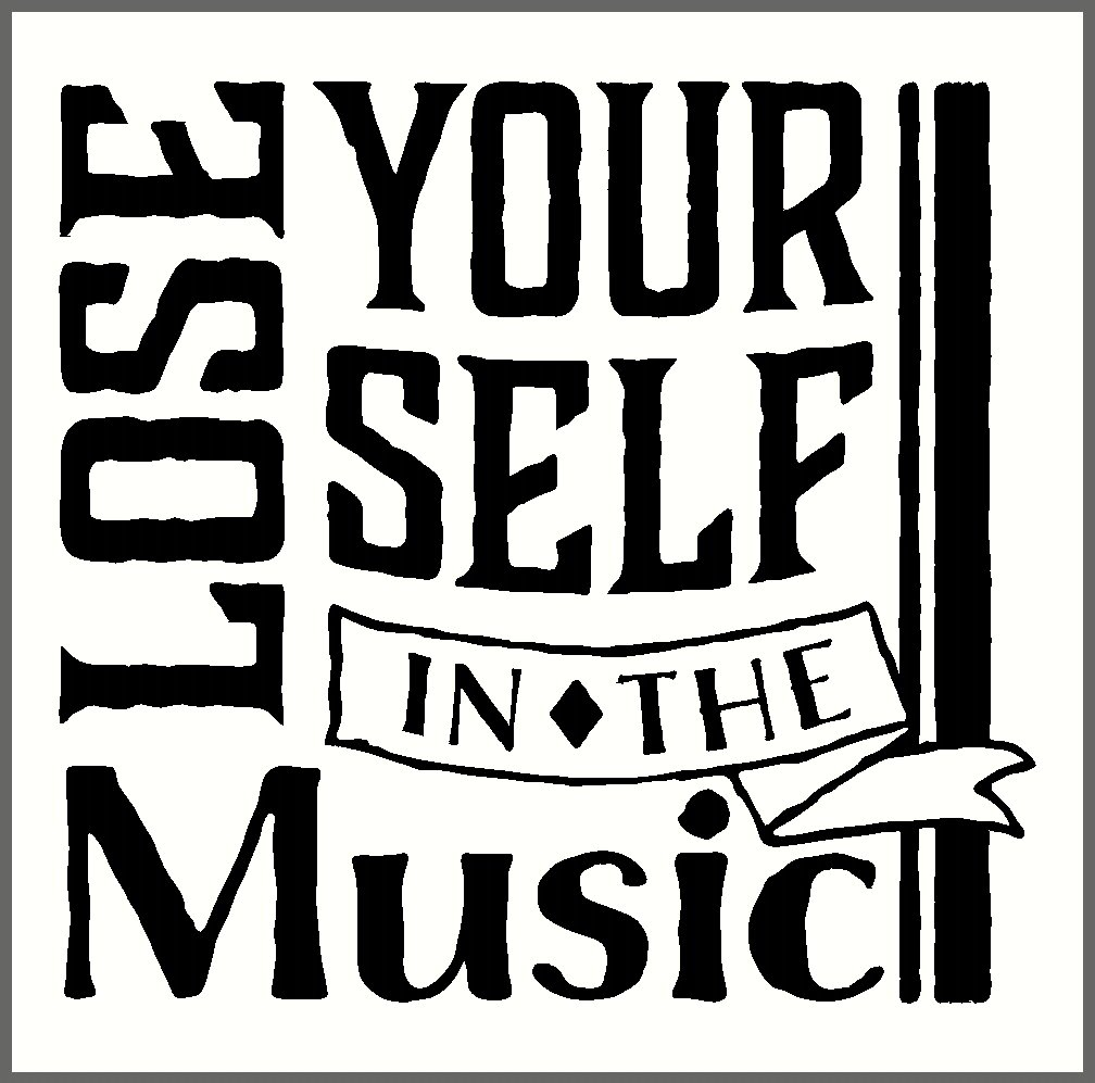 23x22-Inch Wall Decor Plus More WDPM3358 Lose Yourself in The Music Vinyl Wall Decal Quote Musical Wall Art Graphic Black