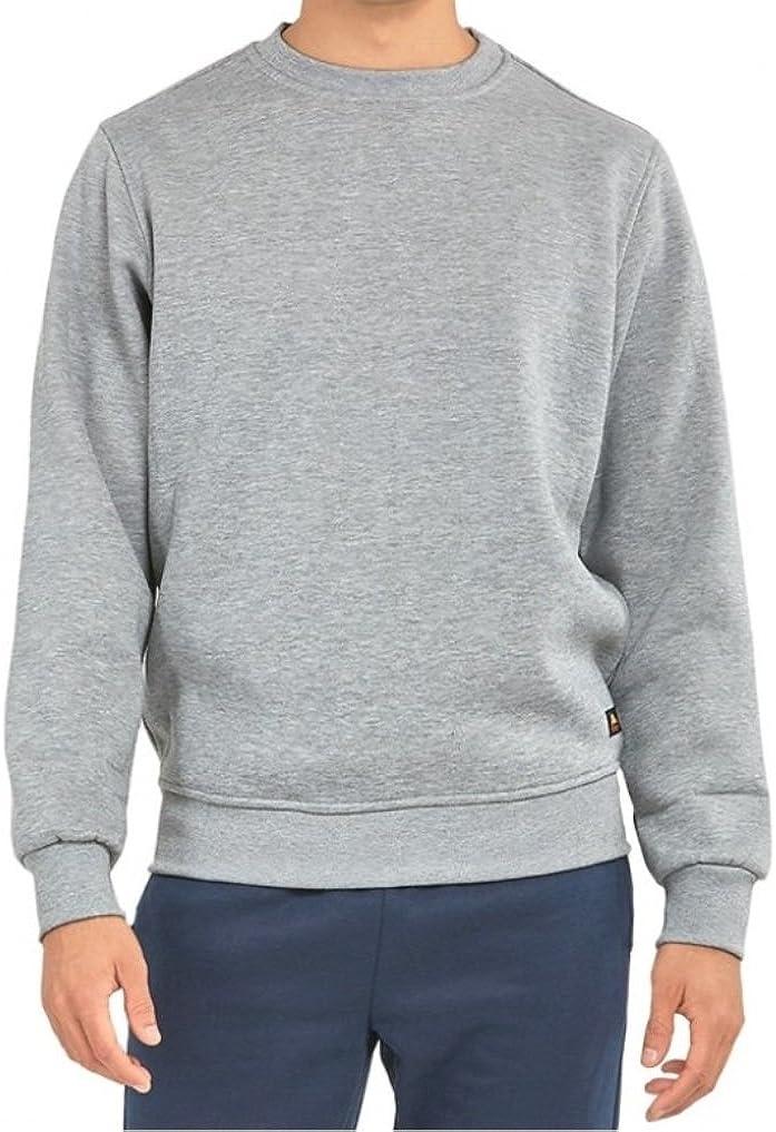 Mens Basic Crewneck Fleece Lined Sweatshirt-Heather Grey-Medium