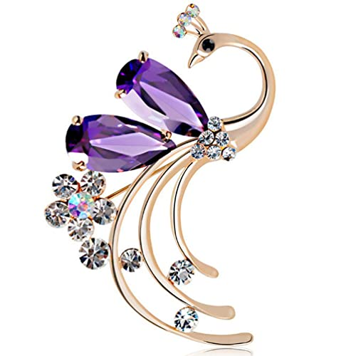 26db12810 Amazon.com: Latigerf Women's Peacock Bird Purple Swarovski Elements Crystal  Brooches and Pin Gold Plated for Party: Jewelry