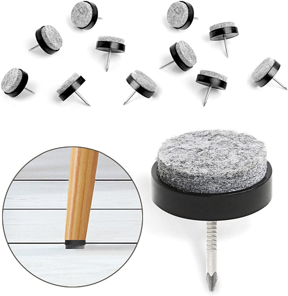 "40pcs Furniture Felt Pad Round Heavy Duty Nail-on Slider Glide Pad Floor Protector for Wooden Furniture Chair Tables Leg Feet(Dia 0.7""/18mm,Black)"