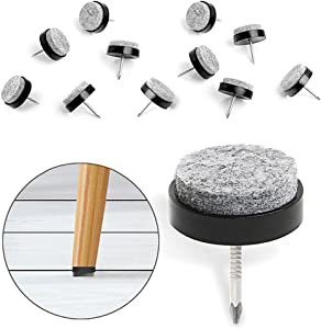 "40pcs Furniture Felt Pad Round Heavy Duty Nail-on Slider Glide Pad Floor Protector for Wooden Furniture Chair Tables Leg Feet(Dia 0.94""/24mm,Black)"