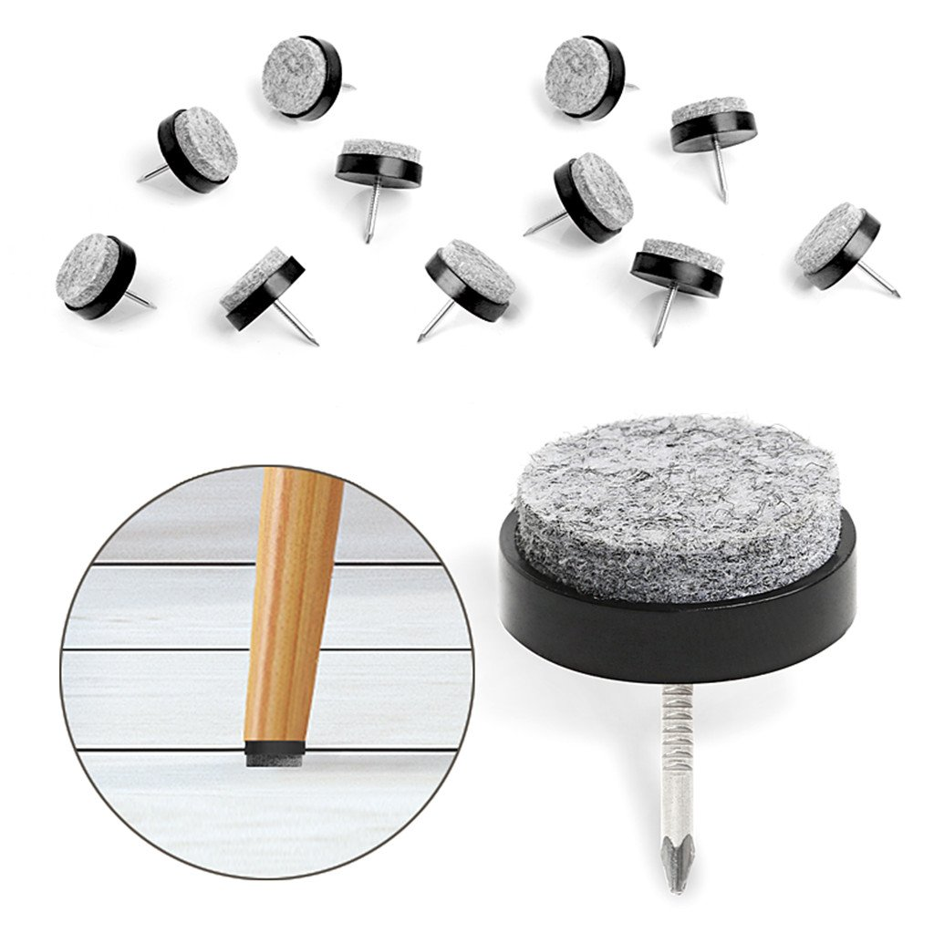 "40pcs Furniture Felt Pad Round Heavy Duty Nail-on Slider Glide Pad Floor Protector for Wooden Furniture Chair Tables Leg Feet(Dia 1.1""/28mm,Black)"
