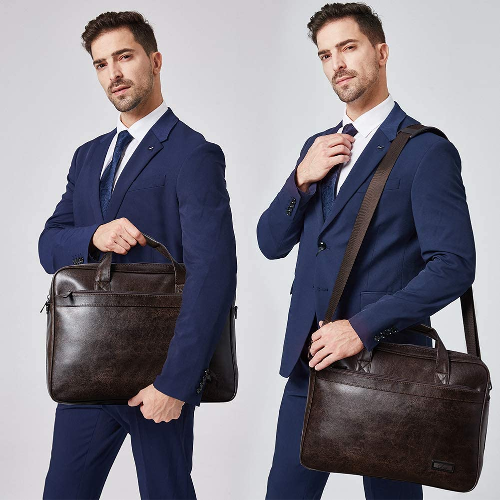 CLUCI Leather Briefcases For Men 15.6 Inch Laptop Bag Large Capacity Expandable Business Vintage Travel Shoulder Bag Brown