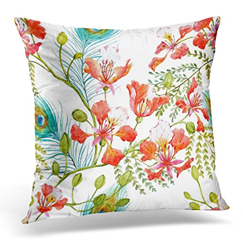 Emvency Throw Pillow Cover Watercolor Tropical Pattern with Tree Branches Royal Poinciana Peacock Feathers Delonix Regia Decorative Pillow Case Home Decor Square 16x16 Inches Pillowcase