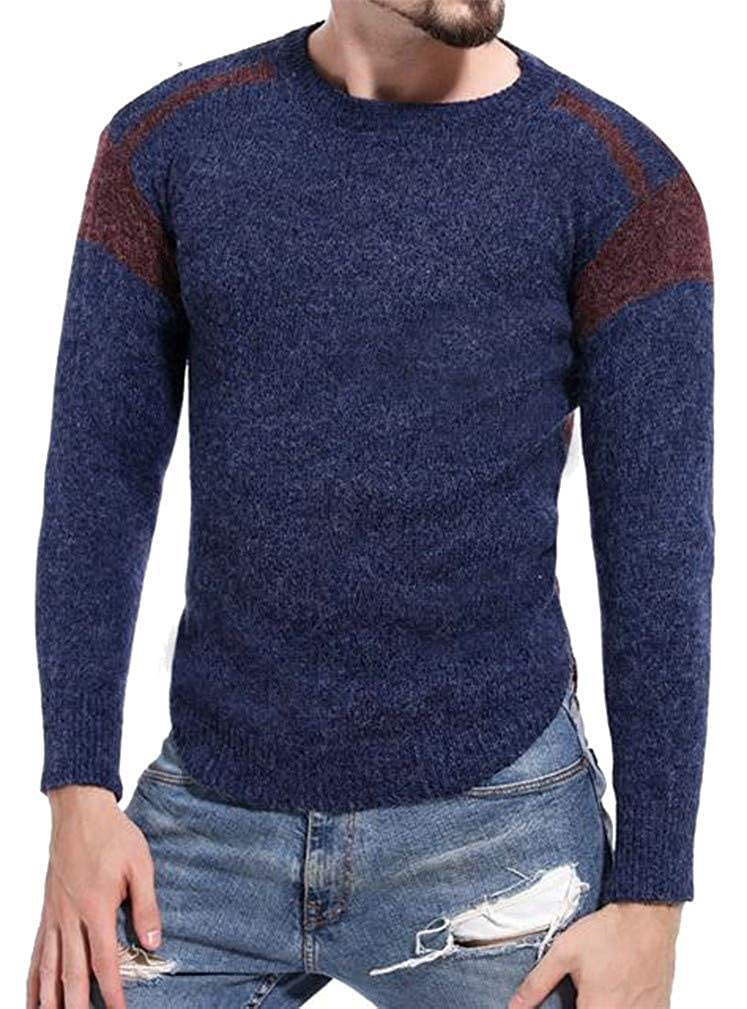 Joe Wenko Mens Contrast Color Hollow Classic Crewneck Raglan Sleeve Pullover Jumper Sweaters