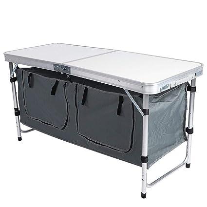 AYNEFY Alu Klapptisch,120x60x70cm H/öhenverstellbar Tragbar Campingtisch Tisch Falttisch Aluminium Campingtisch Klapptisch mit Aufbewahrungstasche Falttisch f/ür Outdoor Karten und Picknicks