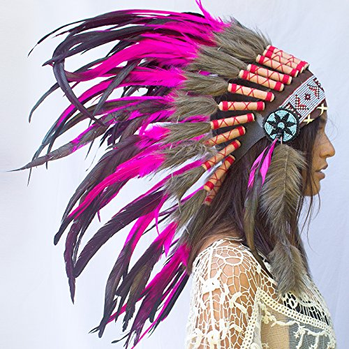 Feather Headdress- Native American Indian Inspired- Handmade by Artisan Halloween Costume for Men Women with Real Feathers - Pink (Chief Indian Princess Costume)