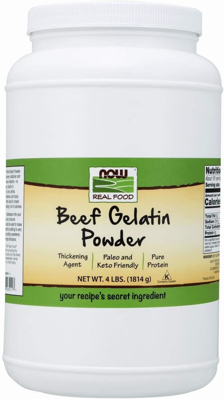NOW Foods, Beef Gelatin Powder, Natural Thickening Agent, Source of Protein, 4-Pound